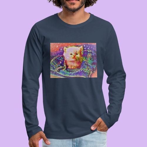 Gattino scintillante nella tasca dei jeans - Maglietta Premium a manica lunga da uomo