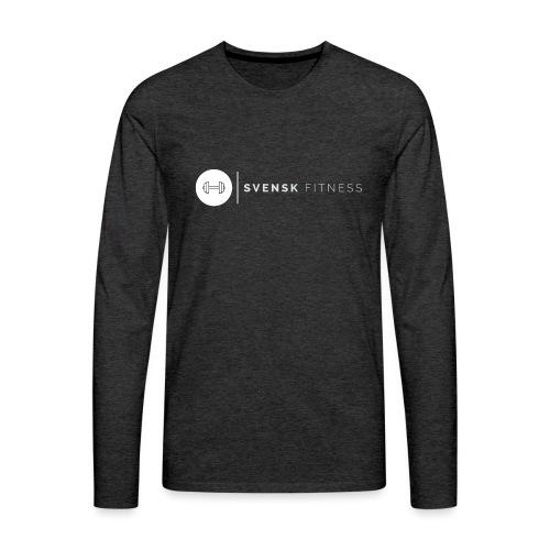 Linne med vit vertikal logo - Långärmad premium-T-shirt herr