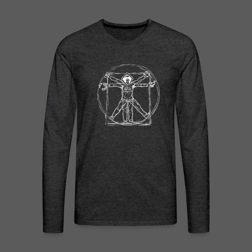 Vitruvian Gamer White Print - Männer Premium Langarmshirt
