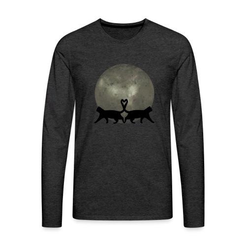 Cats in the moonlight - Mannen Premium shirt met lange mouwen