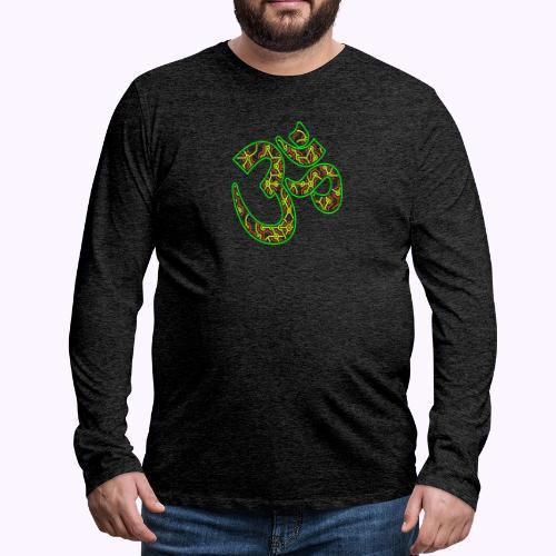 Fractal Om Neon - Miesten premium pitkähihainen t-paita