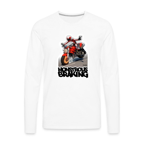 Ducati Monster, a motorcycle stoppie. - Camiseta de manga larga premium hombre