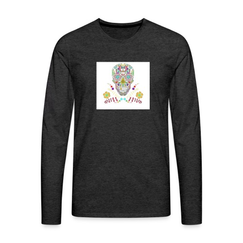 Bunter Totenkopf - Männer Premium Langarmshirt