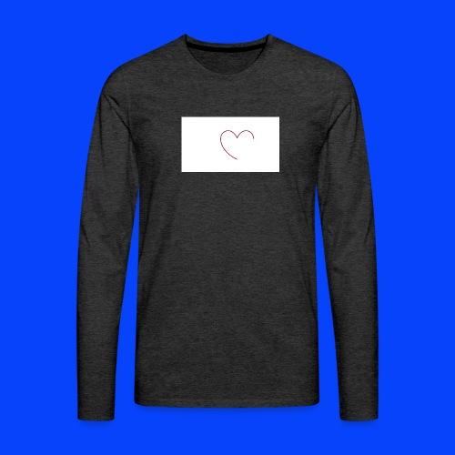 t-shirt bianca con cuore - Maglietta Premium a manica lunga da uomo