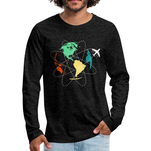 Reisen Weltreise Flugzeug Travelshirt Erde - Männer Premium Langarmshirt