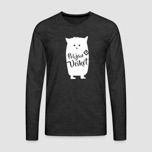 Veikko-pöllö valkoinen - Miesten premium pitkähihainen t-paita