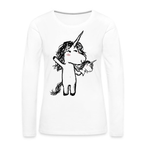Unicorn with his happy friend - Women's Premium Longsleeve Shirt
