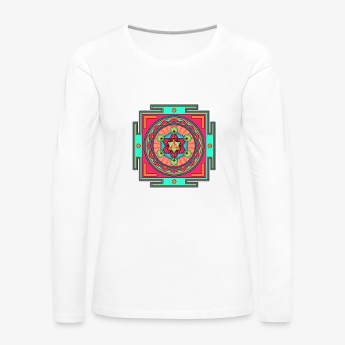 Mandala- Merkaba - Långärmad premium-T-shirt dam