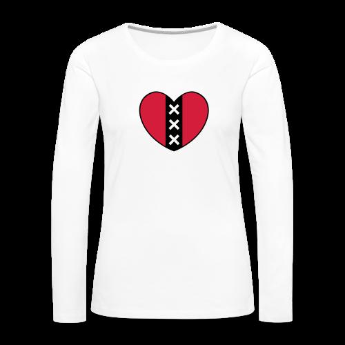 Hart met het symbool van de stad Amsterdam - Vrouwen Premium shirt met lange mouwen