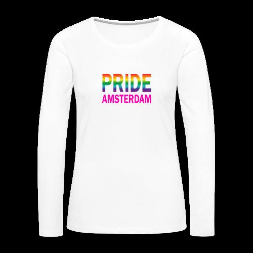 Pride Amsterdam in regenboog kleur en roze - Vrouwen Premium shirt met lange mouwen