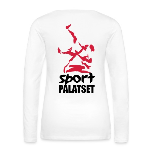 Motiv med svart och röd logga - Långärmad premium-T-shirt dam
