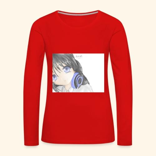 Anime Girl with Headphones - Women's Premium Longsleeve Shirt