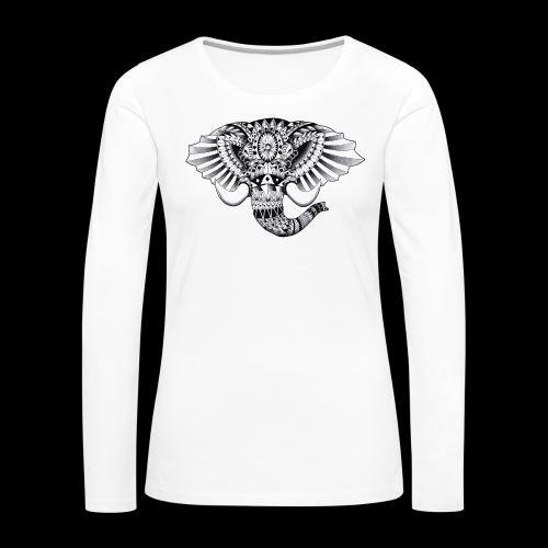 Elephant Ornate Drawing - Maglietta Premium a manica lunga da donna