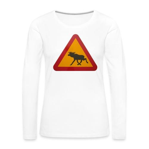 Warnschild Elch - Frauen Premium Langarmshirt