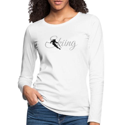 Skiing Skifahrerin (Grau) Wintersport Apres-Ski - Frauen Premium Langarmshirt