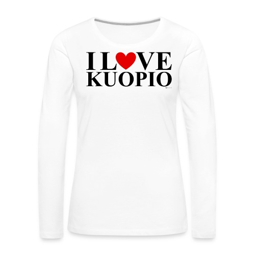 I LOVE KUOPIO (koko teksti, musta) - Naisten premium pitkähihainen t-paita