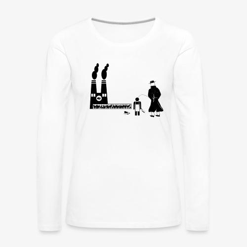 Pissing Man against animal mass slaughtering - Frauen Premium Langarmshirt