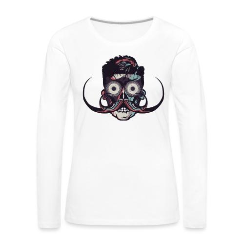 hipster tete de mort crane barbu skull moustache b - T-shirt manches longues Premium Femme