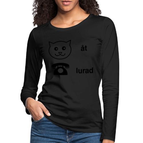 Katt åt telefon - Långärmad premium-T-shirt dam