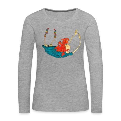 Frit fald - Dame premium T-shirt med lange ærmer