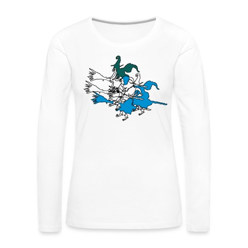 Witches on broomsticks Men's T-Shirt - Women's Premium Longsleeve Shirt