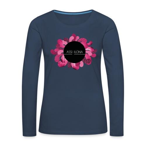 Lippis punaisella logolla - Naisten premium pitkähihainen t-paita