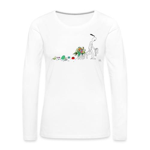 frukt og grønt handleveske - Premium langermet T-skjorte for kvinner