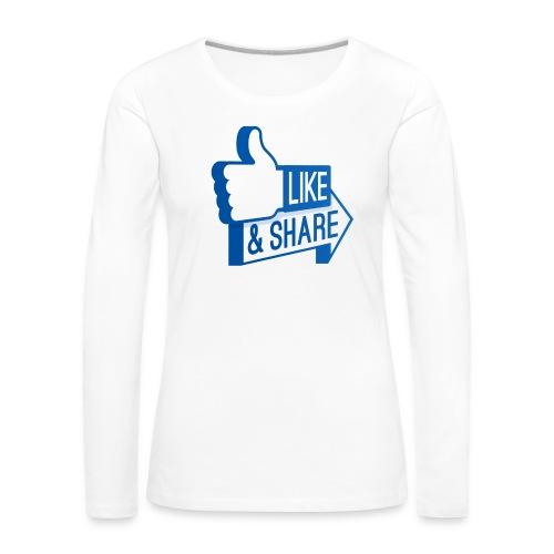 Like & Share (Facebook) - Maglietta Premium a manica lunga da donna