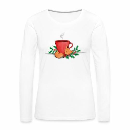 Świąteczny lisek - Koszulka damska Premium z długim rękawem
