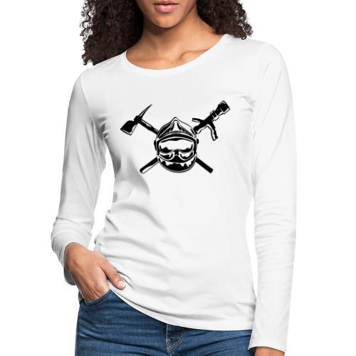 casque_pompier_hache et lance - T-shirt manches longues Premium Femme