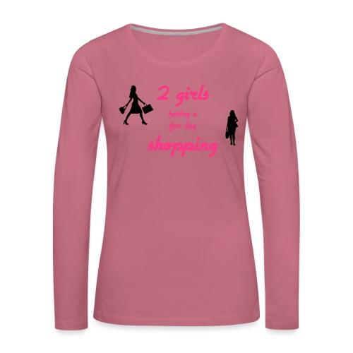 2 girls having a fun day - Naisten premium pitkähihainen t-paita