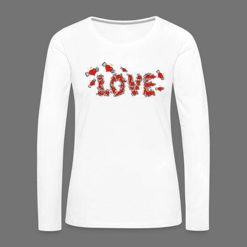 Flying Hearts LOVE - Dame premium T-shirt med lange ærmer