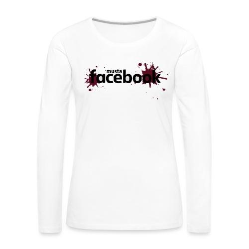 Musta Facebook -t-paita - Naisten premium pitkähihainen t-paita