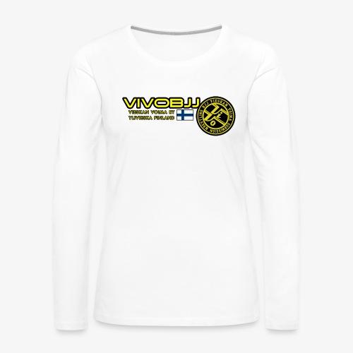 ViVoBJJ Patch White - Naisten premium pitkähihainen t-paita