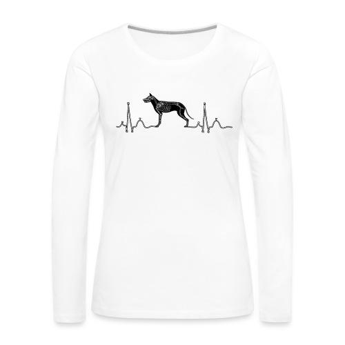 ECG met hond - Vrouwen Premium shirt met lange mouwen