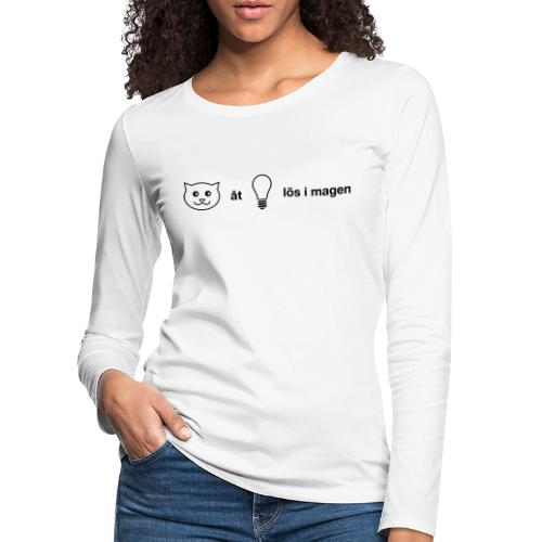 Katt åt lampa - Långärmad premium-T-shirt dam