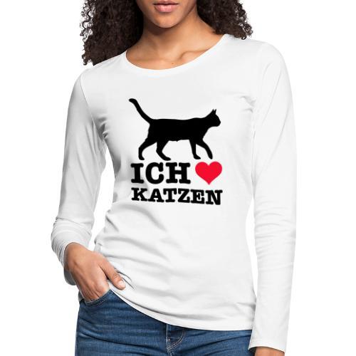 Ich liebe Katzen mit Katzen-Silhouette - Frauen Premium Langarmshirt