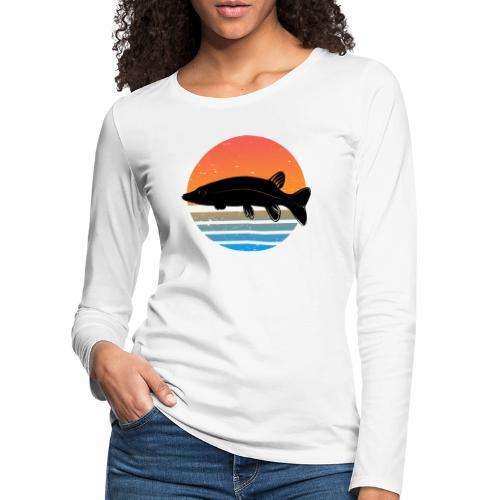 Retro Hecht Angeln Fisch Wurm Angler Raubfisch - Frauen Premium Langarmshirt