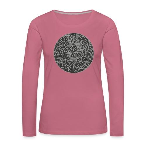GlobeDesign-grey - Dame premium T-shirt med lange ærmer