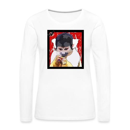 'Clever Monkey 2' by BlackenedMoonArts, w. logo - Dame premium T-shirt med lange ærmer