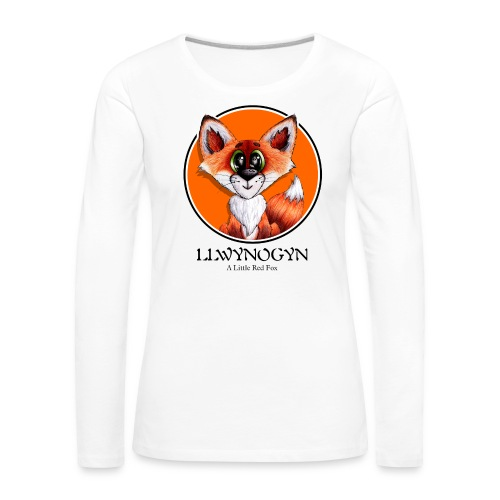 llwynogyn - a little red fox (black) - Dame premium T-shirt med lange ærmer