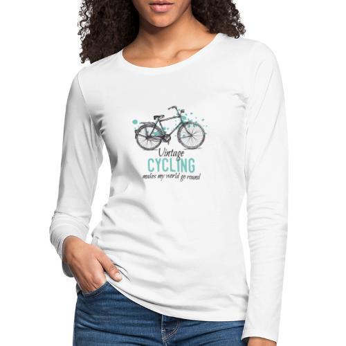 Retro Style Vintage Fahrrad Zeichnung - Frauen Premium Langarmshirt