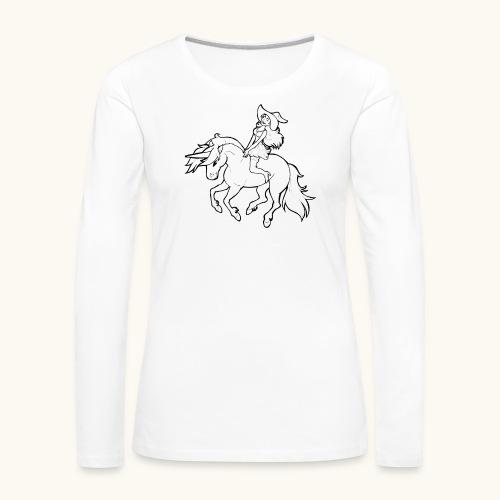 Monter une sorcière sexy sur une licorne. - T-shirt manches longues Premium Femme