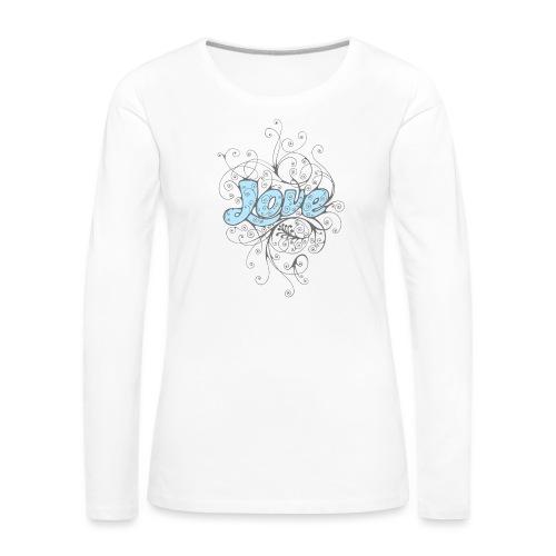 LOVE CON DECORI - Maglietta Premium a manica lunga da donna