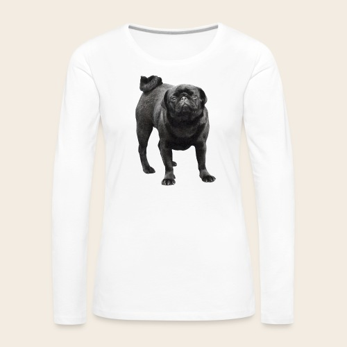 schwarzer Mops - Frauen Premium Langarmshirt