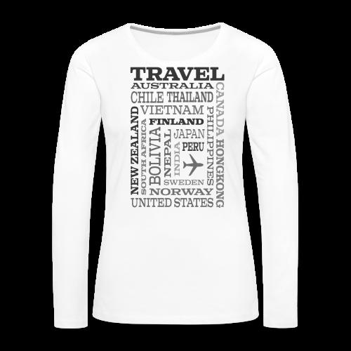 Travel Places Gray design - Naisten premium pitkähihainen t-paita