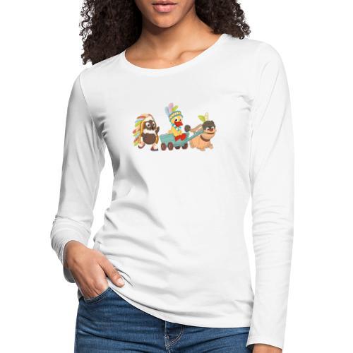 Pittiplatsch Indianerfreunde mit Schnatti & Moppi - Frauen Premium Langarmshirt