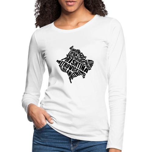 Kosovo Land mit allen Städten - Frauen Premium Langarmshirt