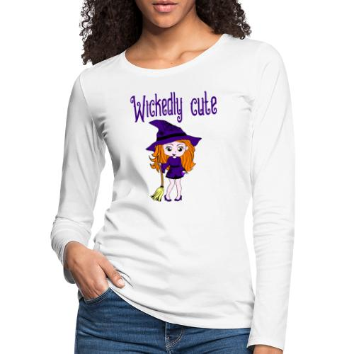 lief klein heksje met bezem - Vrouwen Premium shirt met lange mouwen