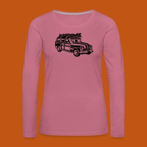Chevy Cadilac Woodie / Oldtimer Kombi 01_schwarz - Frauen Premium Langarmshirt